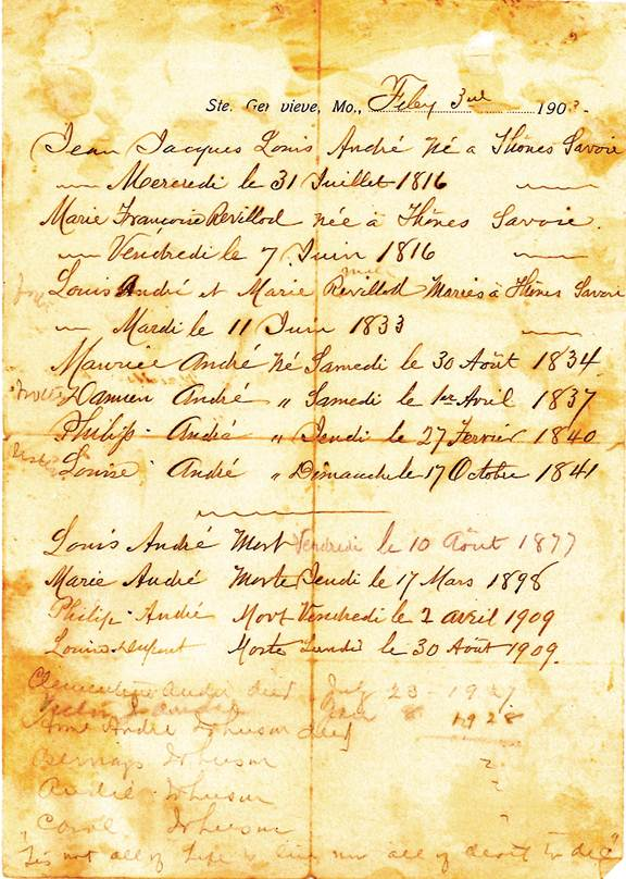 copy of the André family history