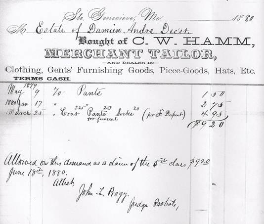 clothing receipt for Damien's burial.