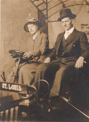 photo of Anna Vorst and Raymond Thomure on their honeymoon in St. Louis