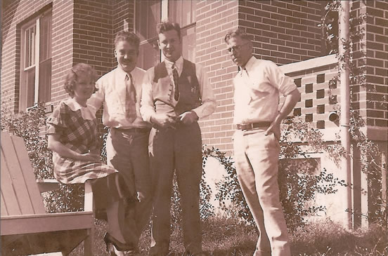 photo of Joe and Matt Ziegler visiting my mom and dad at their first home in Jackson, Missouri.
